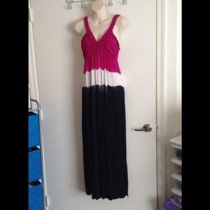Tie-dye Maxi Dress With Woven Straps, Size Small.